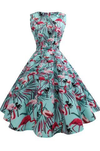 Flamingo Print Vintage Sleeveless A-line Dress