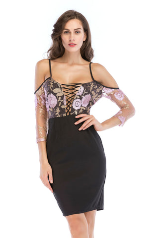Floral Embroidered Cut Out Slit Off-the-shoulder Party Dress