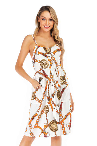 Floral Print Open Back Button Front Maxi Dress