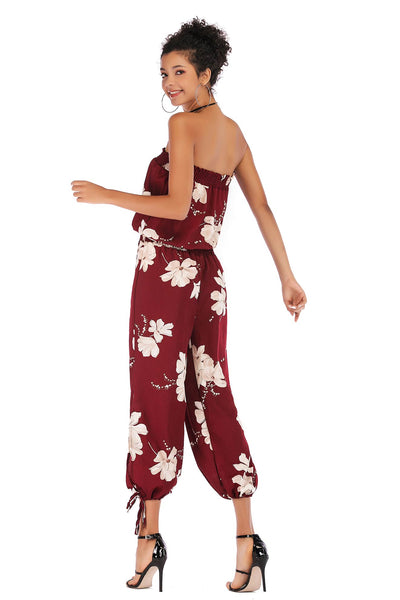 Floral Print Strapless Shirred Chiffon Jumpsuit