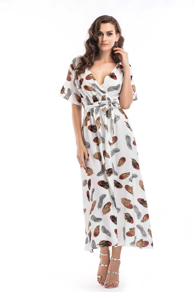 Floral Print V-neck Tie Front Slit Maxi Dress