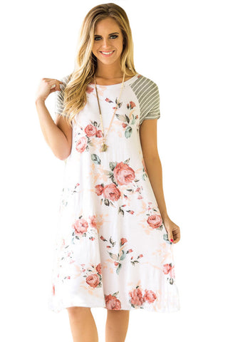 Floral Round Neck Short Sleeve Panel Dress
