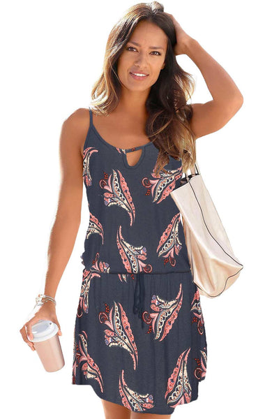 Floral Sleeveless Lace-up Mini Dress