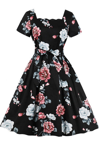 Floral Square Neck Belt Vintage Dress
