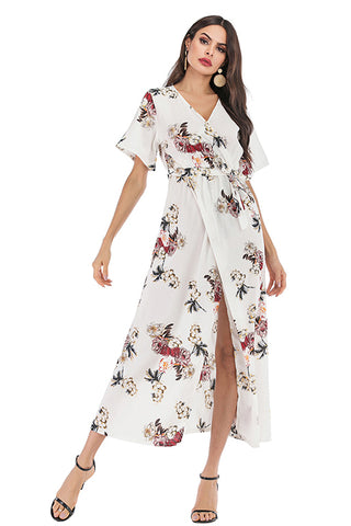 Floral V Neck Thigh-high Slit Lace-up Dress