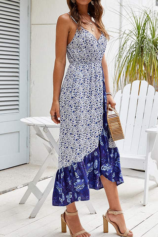 Floral Asymmetric Ruffled Vacation Cami Dress