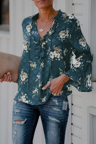 Floral Drawstring Tie Neck Blouse
