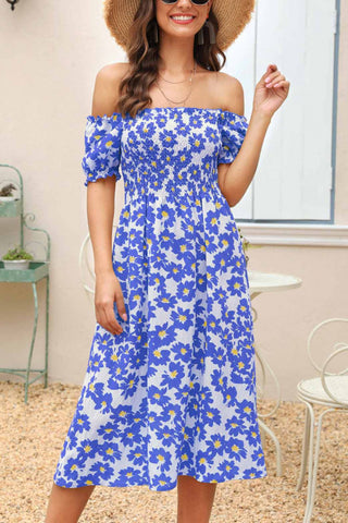 Floral Print Side Slit Smocked Dress