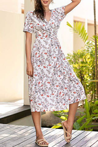 Floral Print Slit Vacation Wrap Dress