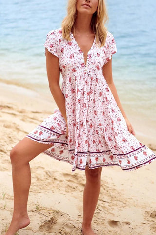 Floral Print V-neck Ruffles Beach Dress