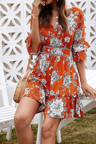 Floral Ruffled Backless Vacation Dress