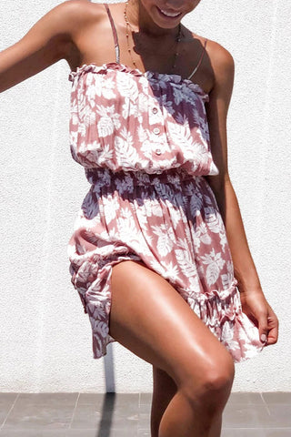 Floral Ruffles Buttoned Chiffon Cami Dress