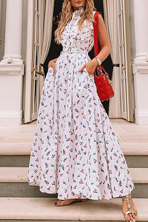 Floral Sleeveless Pockets Maxi Dress