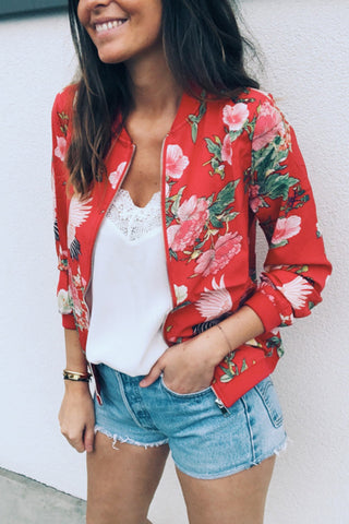 Floral Round Neck Zip Up Jacket