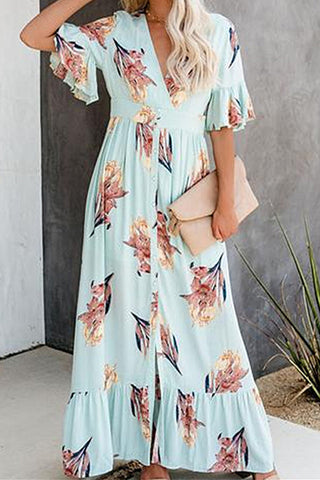 Ruffled V-neck Printed Maxi Dress