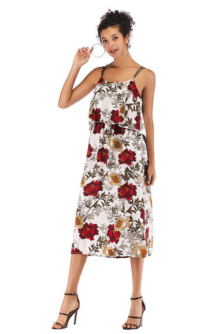 Flower Print Crisscross Spaghetti Straps Chiffon Dress
