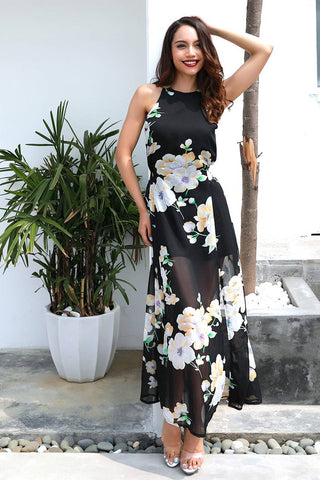Flower Print Halter Backless Slit Chiffon Dress