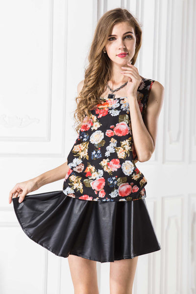 Flower Print Sleeveless Tank Top