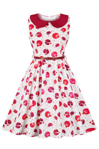 Fruit Print Sleeveless Retro Dress