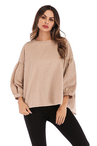Gingham Button Back Blouse With Puff Sleeves