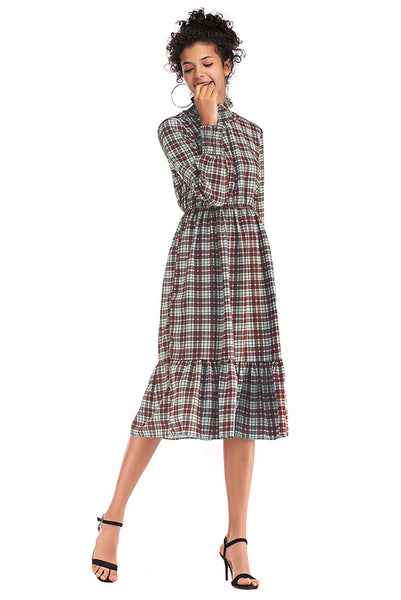 Gingham Ruffle Trim High Neck Chiffon-Kleid