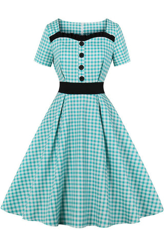 Gingham Square Collar Button Retro Dress