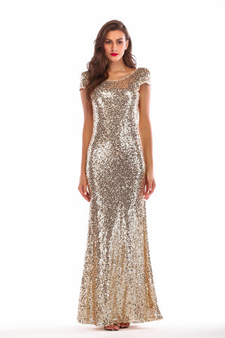 Gold Sequin Mermaid Cap Sleeves Backless Sparkly Prom Dress