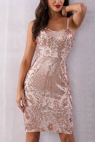 Gold Sequin Sleeveless Slip Dress