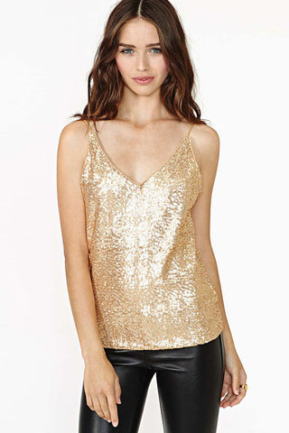 Gold Sequined V-neck Backless Cami Top