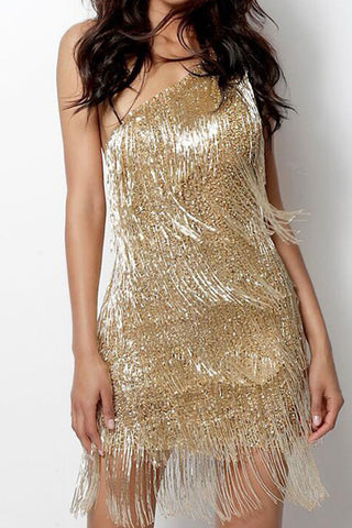 Gold One Shoulder Tassel Club Dress