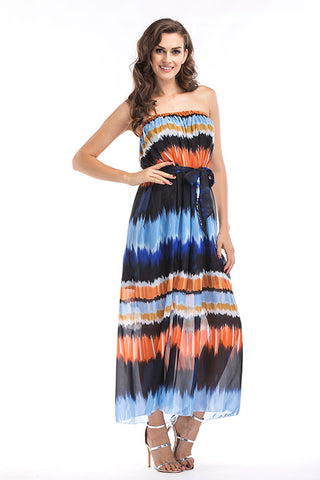 Gradient Strapless Backless Lace-up Maxi Dress