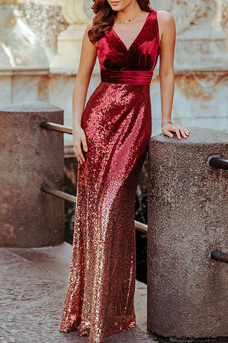Gradient Sequin Panel Prom Dress