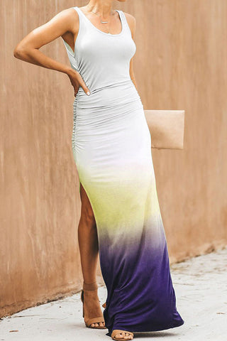 Gradient Sleeveless Slit Side Maxi Dress