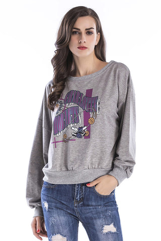 Gray Cartoon Print Pullover Sweatshirt
