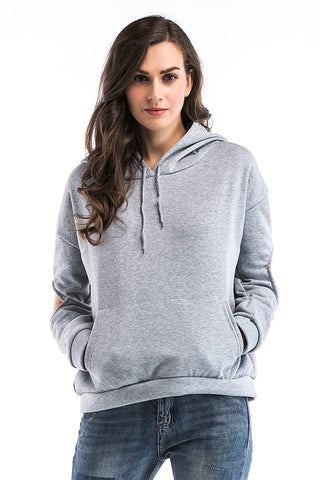 Gray Cut Out Sleeve Drawstring Sweatshirt