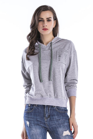 Gray Drawstring Sweatshirt With Chest Pockets