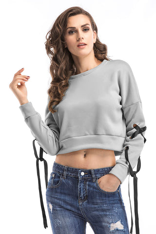 Gray Lace-up Long Sleeve Crop Sweatshirt