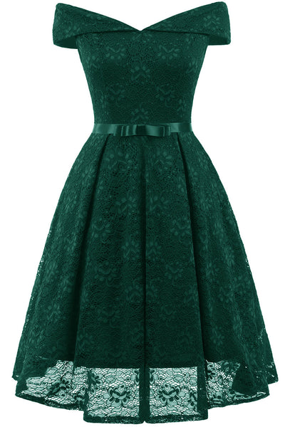 Green Lace Off-the-shoulder Princess Prom Dress