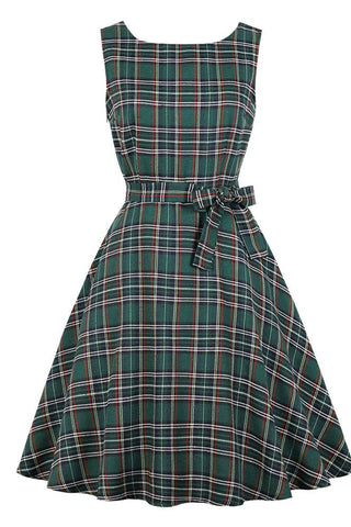 Green Plaid Sleeveless Vintage Dress