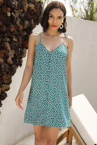 Green V-neck Tie Shoulder Printed Dress