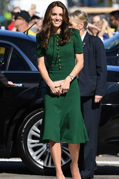 Grüner Button Down Kate Middleton Midikleid