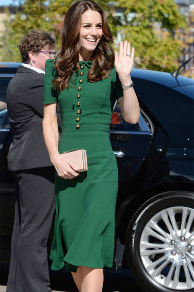Green Button Down Kate Middleton Midi Dress