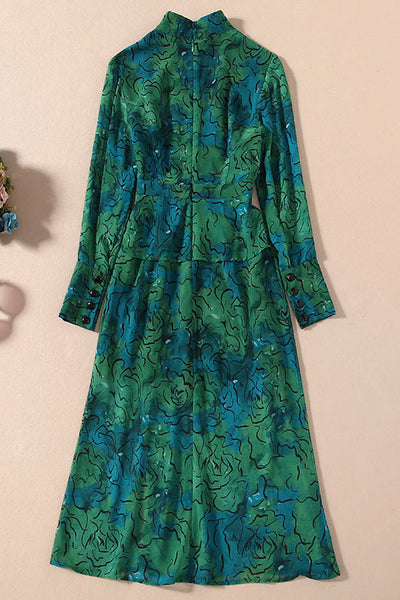 Green Floral Lantern Sleeve Kate Middleton Dress