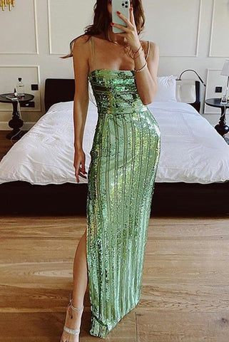 Green Sequin Spaghetti Straps Slit Prom Dress