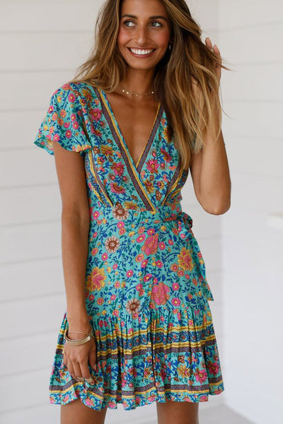Sexy V-neck Maxi Printed Summer Short Dress