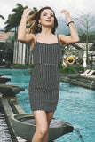 Grid Backless Spaghetti Straps Slim Fit Dress