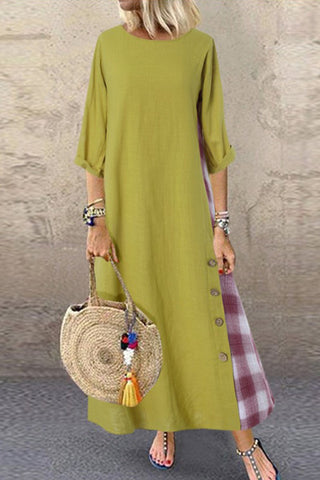 Grid Panel Buttoned Maxi Dress
