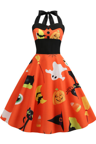 Halloween Halter Sleeveless Printed Dress