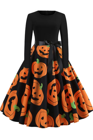 Halloween Printed Belt Vintage Dress