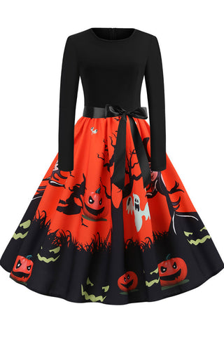 Halloween Pumpkin Print Retro Dress